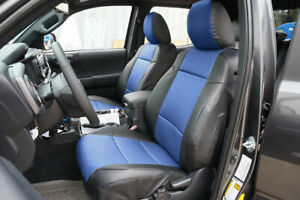 Toyota Tacoma 2016 2019 Black blue S leather Custom Made Fit Front Seat Cover
