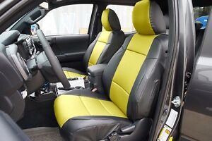 Toyota Tacoma 2016 2020 Black Yellow S Leather Custom Made Fit Front Seat Covers