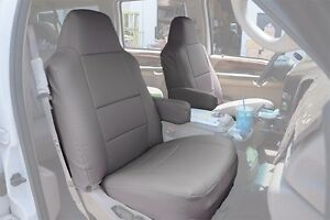 Ford Excursion 2000 2005 Grey S leather Custom Made Fit Front Seat Cover