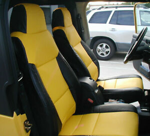 Jeep Wrangler 2003 2006 Black Yellow Iggee S Leather Custom Made Fit Seat Cover