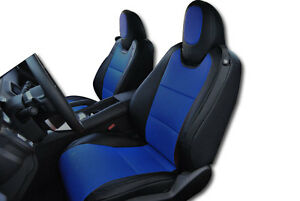 Chevy Camaro 2010 2015 Black Blue Iggee S Leather Custom Fit Front Seat Cover
