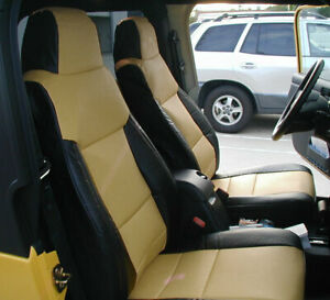 Jeep Wrangler 2003 2006 Black Beige Iggee S Leather Custom Made Fit Seat Cover