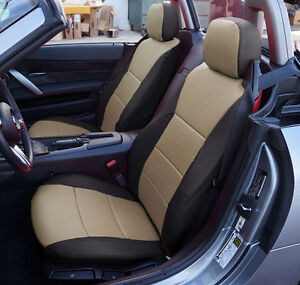 Bmw Z4 2003 2008 Black beige Iggee S leather Custom Fit Front Seat Covers