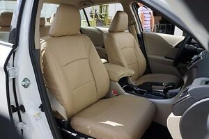 Honda Accord 2013 2016 Beige S leather Custom Made Fit Front Seat Cover