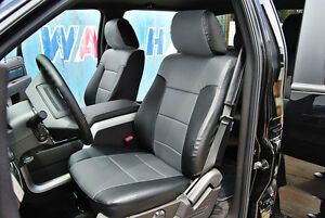 Ford F 150 2009 2014 Black grey Iggee S leather Custom Fit Front Seat Cover