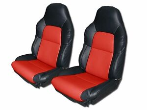 Chevy Corvette C4 Standard 1994 1996 Black Red S Leather Custom Fit Seat Cover