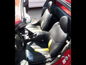 Honda Del Sol 1993 1997 Black yellow S leather Custom Fit Front Seat Covers