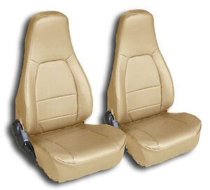 Mazda Miata 1990 2000 Beige Iggee S leather Custom Fit Front Seat Covers