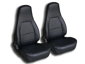 Mazda Miata 1990 1997 Black Iggee S Leather Custom Fit 2 Front Seat Covers