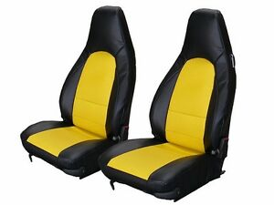 Porsche 911 928 944 968 Black Yellow S Leather Custom Made Fit Front Seat Cover