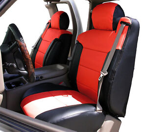 Chevy Silverado 2000 2002 Black red S leather Custom Fit Front Seat 2arm Cover