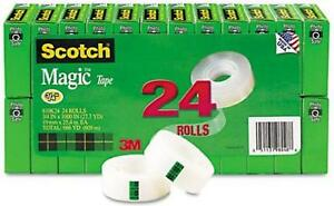Scotch Magic Tape 3 4 X 1000 Inches Boxed 24 Rolls 810k24 Standard Packaging