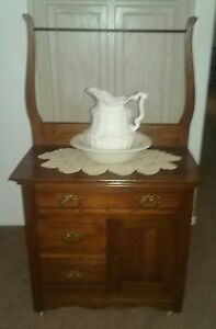 Antique Wash Stand Original Dated 1902