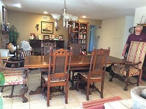Dining Set Circa 1915 Includes China Cabinet Buffet Server Table And Chairs