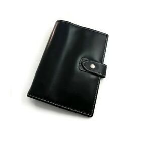 6 Ring A6 Personal Size Genuine Leather Planner Agenda Black Asian Vintage