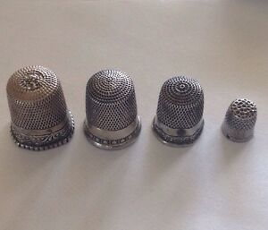 Four 4 Sterling Silver Thimble Lot 3 Are Simon Brothers 1 Is A Charm