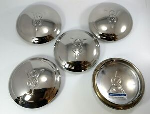 1934 Ford Car Pickup Truck Stainless Hubcap 34 V8 Logo One Ring Wheel Set Of 5