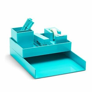 Poppin All Set 12 piece Desk Collection Aqua