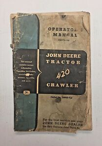 Vintage John Deere Tractor 420 Crawler Operators Manual Shop Dealer 1966