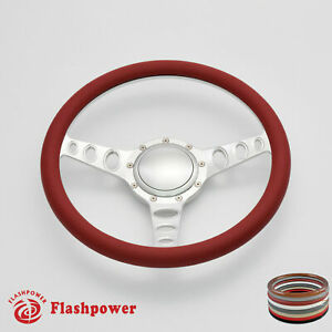 14 Billet Steering Wheel Red Half Wrap Chevrolet Monte Carlo Camaro W Horn