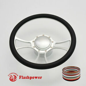 14 Billet Aluminum 9 Hole Steering Wheel Kit W Horn Button Adapter