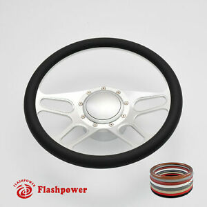14 Billet Aluminum 9 Hole Steering Wheel Kit W Horn Button Adapter For Chevy