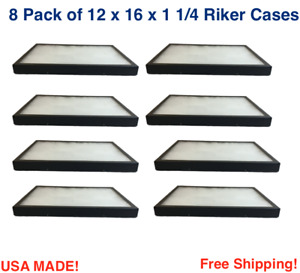 8 Pack Of Riker Display Cases 12 X 16 X 1 1 4 For Collectibles Jewelry
