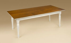 Primitive Kitchen Table 5 Foot Cherry Wood Rectangular Top White Base Wooden New