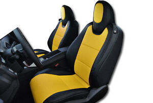 Chevy Camaro 2010 2015 Black Yellow Iggee S Leather Custom Fit Front Seat Cover