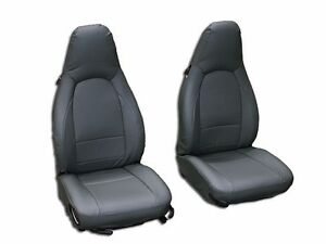 Porsche 911 928 944 968 Charcoal S Leather Custom Made Fit Front Seat Cover