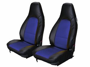 Porsche 911 928 944 968 Black Blue S Leather Custom Made Fit Front Seat Cover