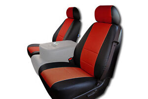 Chevy Silverado 2007 2013 Black Red Iggee S Leather Custom Front Seat Cover