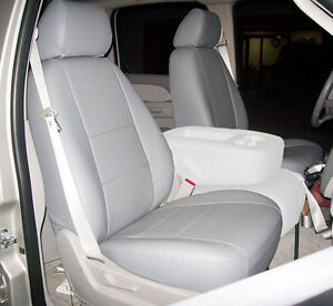 Chevy Silverado 2007 2013 Grey Iggee S leather Custom Front Seat Cover