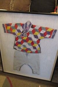 Very Old Chinese Silk Embroidered Child S Outfit Framed Under Glass