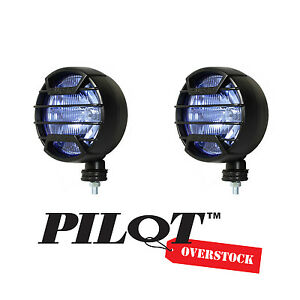 Pilot 7 Black Guard Round Off Road White Fog Lights 9 5 X 4 5 Us Seller