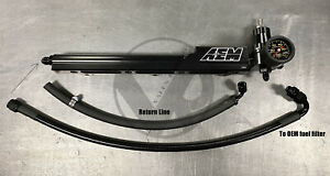 Aem B Series Fuel Rail Regulator Stainless Fuel Line Gauge Combo Package
