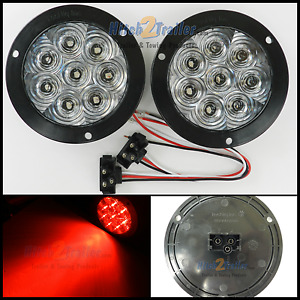 2 8 Led 4 Round Stop Turn Tail Light Clear Red Tecniq Led Flange Mount Usa