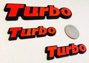 3 Pack Red Turbo Badge Emblems Vw Audi Bmw Porsche Volvo Saab Seat Free Ship