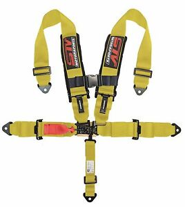 V Type 5 Point Racing Harness Set Latch And Link 2 Inch Safety Seat Belt Yellow