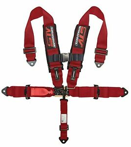 Racing Harness Seat Belt 5 Point 2 Inches Straps Red Sfi Latch Link