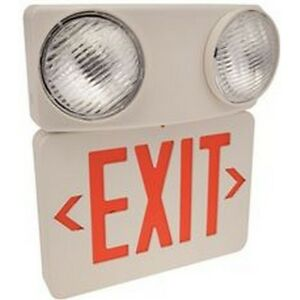 Monument 673086 Combination Led Exit Sign And Incandescent Emergency Light New