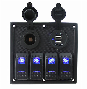 12v 24v Dc 4 Gang Waterproof Marine Blue Led Switch Panel With Power Socket And