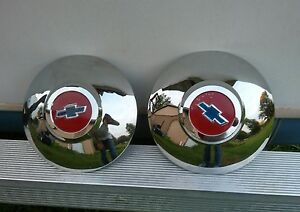 49 50 Chevy Dog Dish Hubcaps 1949 1950 Chevrolet Nice Set Of 2 Hub Caps New