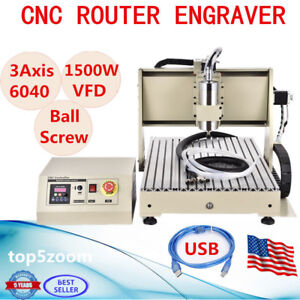 Usb 3 Axis 6040 Cnc Router Engraver 1500w Vfd Engraving Carving Drilling Machine