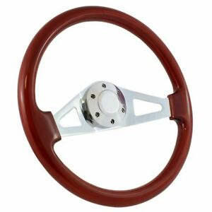 2 spoke Mahogany Chrome 15 Steering Wheel 1965 69 Mustang Fairlane Falcon