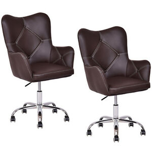 Set Of 2 Home Office Task Chair Pu Leather Swivel Adjustable Tufted Back Rolling