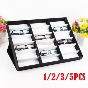 Lot1 5 Storage Display Case Box For Eyeglass Sunglass Glasses 18 Compartments E9