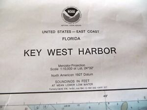 Key West Harbor Chart Noaa 1986 Florida Keys Mariner Nautical 37 X 44 Rare Gc Fs