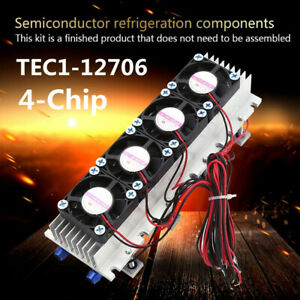 12v 4 chip Tec1 12706 Diy Thermoelectric Cooler Refrigeration Air Cooling Device