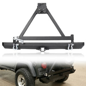 Rock Crawler Rear Bumper With Tire Carrier Swing For Jeep Wrangler Tj Yj 87 06